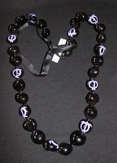 Black with Purple Honu Kukui Lei