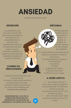 Ansiedad: definición, causas, síntomas y tratamiento: Mental Health Facts, Mental Health Awareness, Psychology Studies, Psychology Facts, Curious Facts, Medicine Student, Cognitive Behavioral Therapy, Psychiatry, Coping Skills