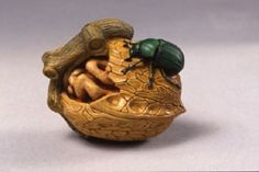 Kinsey Lecture:  Ataru, a Japanese artist who lives in Chiba, created this excellent netsuke portraying a beetle exploring the meat in a cracked walnut.