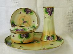 Image detail for -Nippon Hand Painted Violets Takito Diamond Porcelain Dresser…