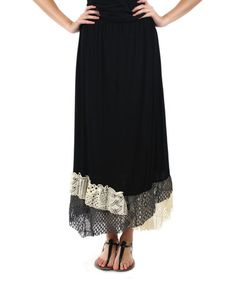 Look at this #zulilyfind! Black & Cream Lace-Hem Maxi Skirt - Plus by Aster #zulilyfinds