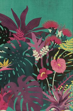 Tropical vibes Chill illustration by by thefoxisblack Motif Tropical, Tropical Design, Tropical Pattern, Tropical Vibes, Tropical Prints, Deco Floral, Motif Floral, Floral Texture, Art And Illustration