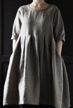 Natural Linen Dress by EDITHandBERTHA on Etsy, £120.00 Indigo and grey