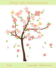 love birds with spring flowering pink cherry tree and falling blossoms A122- unique clipart for do it yourself cards invites projects