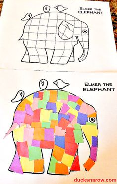 E is for Elephant preschool craft activity This craft for preschoolers is so much fun that you are going to do one right along with them. Cut lots of colored paper - glue them to Elmer the Elephant! Letter E Activities, Preschool Craft Activities, Preschool Lessons, Preschool Learning, Preschool Elephant Crafts, Letter E Craft, Alphabet Crafts, Book Crafts, Letter Tracing