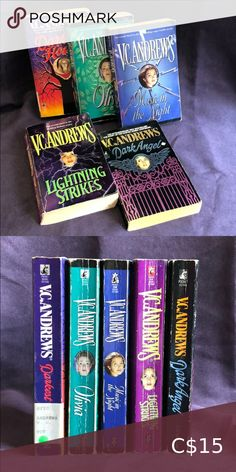 V.C. Andrews - 5 books V.C. Andrews - 5 books Darkest Hour, Olivia, Music in the Night, Lightening Strikes, Dark Angel. All are in ok pre-read condition.  Price reflects this. All proceeds benefit the Humane Society of Kawartha Lakes. V.C. Andrews Other Humane Society, Lakes, Benefit, Reflection, Congratulations, Angel, Dark, Night, Music