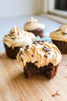 Fudgy brownie cupcakes covered in creamy peanut butter frosting.