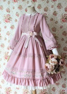 icu ~ Pin on Lolita OP Dresses ~ Dec 2019 - Milu Forest -Cherry Blossoms- Embroidery Vintage Classic Lolita OP Dress Harajuku Fashion, Kawaii Fashion, Cute Fashion, Old Fashion Dresses, Fashion Outfits, Pretty Outfits, Pretty Dresses, Vintage Dresses, Vintage Outfits