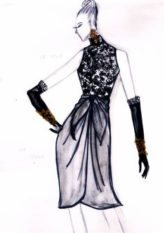 sketches of a cocktail dress, 1999