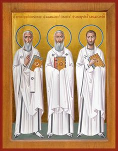 Ambrose of Milan, Athanasius the Great and Gregory Russian Orthodox icon Byzantine Icons, Byzantine Art, Religious Icons, Religious Art, Typical Russian, St Ambrose, Greek Icons, Church Icon, Roman Church