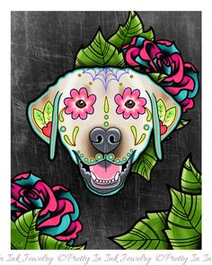 Labrador Retriever in Yellow - Day of the Dead Sugar Skull Dog Art Print by Pretty In Ink Jewelry Sugar Skull Tattoos, Sugar Skull Art, Sugar Skulls, Sugar Skull Painting, Candy Skulls, Perro Labrador Retriever, Dead Dog, Day Of The Dead Skull, Dog Poster