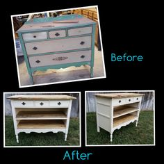 We repurposed this 1930's Dresser into a Buffet / Kitchen Island. Top and Shelves are made from Old Barn Wood and Vintage Square Nails. Sealed with a Danish Oil. Added wood side strips. Original Wooden Rolling swivel wheels. Painted Made to match our FarmTable Sets Absolutely Beautiful !!!!