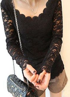 Ripple collar long-sleeved lace shirt