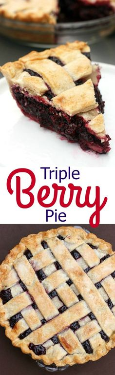 Triple Berry Pie is my FAVORITE Thanksgiving Pie, and it's super easy to make with fresh or frozen raspberries, blueberries and blackberries. | Tastes Better From Scratch