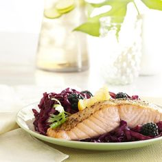 In this spa-style supper, slow-simmered red cabbage, studded with blackberries, delivers a day's supply of vitamin C  a nutrient linked with lower stroke risk. The simple-prep broiled salmon rejuvenates skin with omega-3 fatty acids and protein.