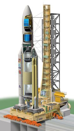 Cut away image of an Ariane 5 launch vehicle.
