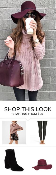 #fall #outfits women's pink knit sweater, black framed sunglasses, maroon leather handbag. Click To Shop This Look.