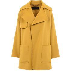 Barbara Bui Coat ($1,555) ❤ liked on Polyvore featuring outerwear, coats, jackets, coats & jackets, yellow, barbara bui, yellow coat, woolen coat, collar coat and lapels wool coat