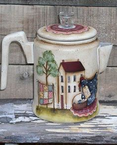 Cute design by Deb Richey on coffeepot... pattern here.