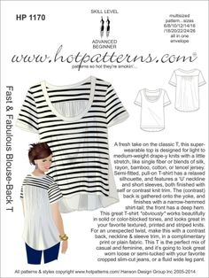 8d93c7e43af HotPatterns.com - HP 1170 Fast  amp  Fabulous Blouse-Back T Something to