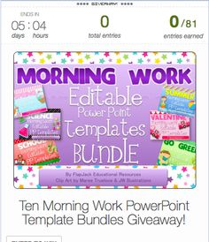 Ten teachers will win a Morning Work PowerPoint Templates Bundle with thirteen themes to last throughout the whole school year. Enter to win by February 16th, 2013 at midnight!