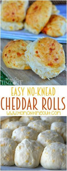 These delicious cheddar rolls are so easy to prepare and require no kneading for us busy moms!  You're going to love the super-cheesy taste that goes perfectly with any meal!   MomOnTimeout.com