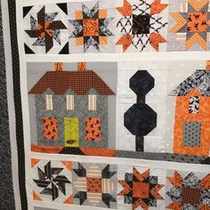 The original Farm House Lane pattern uses the Welcome Block for the Center spacers. I mixed it up to include the Winter Star Block and the Tumbleweed Block because every Haunted House needs Tumbleweeds! And a Dead Tree. All are in the Farm Girl Vintage book by Lori Holt @beelori1 of Bee In My Bonnet. #hauntedfarmhouselanequilt #farmgirlvintage #loriholt #beeinmybonnet #halloweenquilt #halloweenfabrics