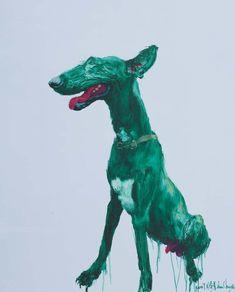 """Zhou ChunYa est un artiste contemporain chinois, né en 1955 à Chongqing, province de Sichuan. C'est un grand peintre de la nature et de la ruralité mais en Occident, c'est pour son travail quasi expressionniste qu'il est le plus connu. Pour mémoire, cette sérigraphie issue de la série """"Green dog""""."""