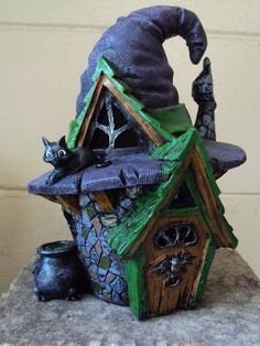 """me ~ Miniature garden """"witch hat fairy house"""" + witch, broomstick & battery tealight Clay Fairy House, Fairy Garden Houses, Fairy Gardens, Miniature Gardens, Fairy Village, Fairy Tree, Halloween Fairy, Clay Houses, Tree Houses"""