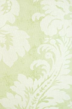 Argentina Damask Textured Wallcovering Mottled light green, textured wallpaper with white damask print.