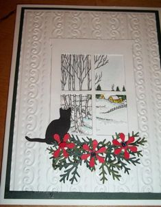 Window from rectangle. add scene on rectangle layer, add cross pieces Kitty looking out at winter Christmas Cards 2018, Christmas Cats, Holiday Cards, Xmas, Pet Sympathy Cards, Greeting Cards, Image Paper, Window Cards, Embossed Cards