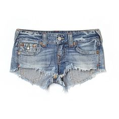 Pre-owned True Religion Denim Shorts ($31) ❤ liked on Polyvore featuring shorts, light blue, jean shorts, light blue jean shorts, denim shorts, true religion and denim short shorts