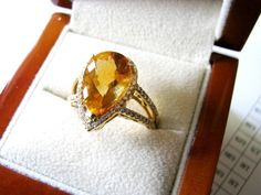 Gold ring with diamonds and  DROP CITRINE by drndesigns on Etsy, $1550.00