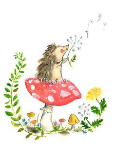 Hey, I found this really awesome Etsy listing at https://www.etsy.com/listing/230606846/childrens-art-wishing-hedgehog-art-print