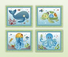 "Sweet Ocean Dreams. Nursery Wall Art Print Collection (8""x10"", (4) Set of Four)"