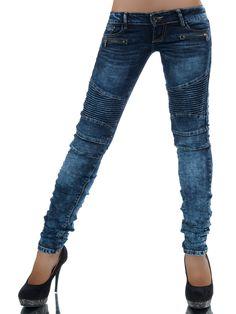 Die trendige Stone-Washed-Jeans THERESIA hat durch Ihren angesagten Biker-Look den absoluten Style-Faktor! Die rockige Röhrenjeans hat einen tollen hüftigen Sitz, 5-Pockets und eine außergewöhnliche Waschung. Die Zierreißverschlüsse und...
