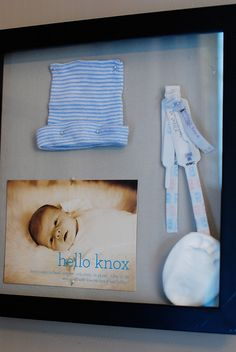 Baby shadow box. I could totally use this idea as a starting point. What a great way to display (rather than store) Jordan's baby items!