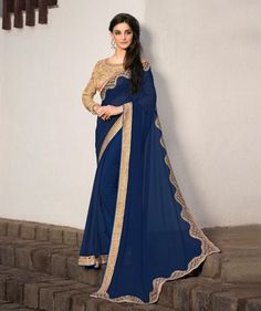 Navy Blue Georgette Party Wear Saree 78983