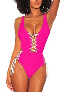0ed6bb3445 QINSEN #Women One Piece Monikini Swimwear #Sexy Lace Up Cutout High Cut # Bikini