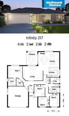 If you have a shallow block of land, the Infinity 217 might be the answer. Large living areas flow off the kitchen and look out over the alfresco area. The private master suite is well away from the remaining three bedrooms, providing a peaceful retreat. Free House Plans, House Layout Plans, Family House Plans, Best House Plans, House Layouts, Three Bedroom House Plan, Bungalow House Plans, Bungalow House Design, Single Storey House Plans