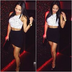 Fashion Style Inspiration #Outfit #high waist skirt black
