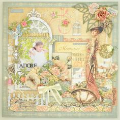 "This is a sample for my workshop.  It's a layout using ""A Lady's Diary(Graphic45)"""