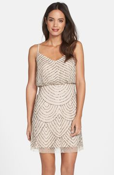Adrianna Papell Sequin Mesh Blouson Dress in Taupe