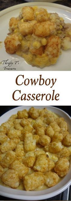 Tator tots, ground meat and a few other ingredients make this Cowboy Casserole oh so very tasty! We love easy dinner recipes and this one is a no-brainer!