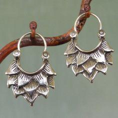 Lotus Earrings - Smaller - Sterling Silver - Hoop Earrings