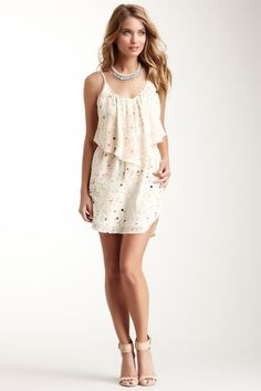 Elastic Waist Ruffle Front Silk Dress on HauteLook