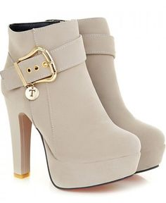 hunky Heel and Metallic Buckle Design Suede Boots
