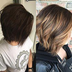 before & after, balayage