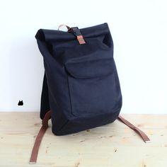 ROLLTOP Duffel Rucksack (Black Bohrer mit Schwarz PVC) - Seesack - Sack-Tasche - Rucksack - Reiten-Bag - Men's Bag - Laptoptasche
