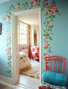 Bedroom design ideas and photos to inspire your next home decor project or remodel. Check out Bedroom photo galleries full of ideas for your home, apartment or office. Girls Bedroom, Bedroom Decor, Wall Decor, Wall Art, Bedrooms, Wall Murals, Bedroom Ideas, Master Bedroom, Floral Bedroom